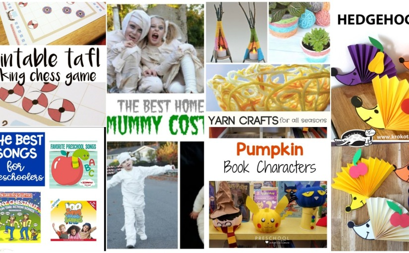 Hedgehogs, Halloween Pumpkin Craft, Printable Viking Chess Game and Mummy Costumes
