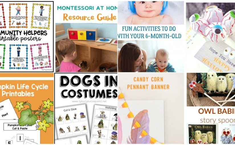 Printables: Pumpkin, Dogs in Costumes and Community Helpers, Montessori at Home and DIY Candy CornBanner