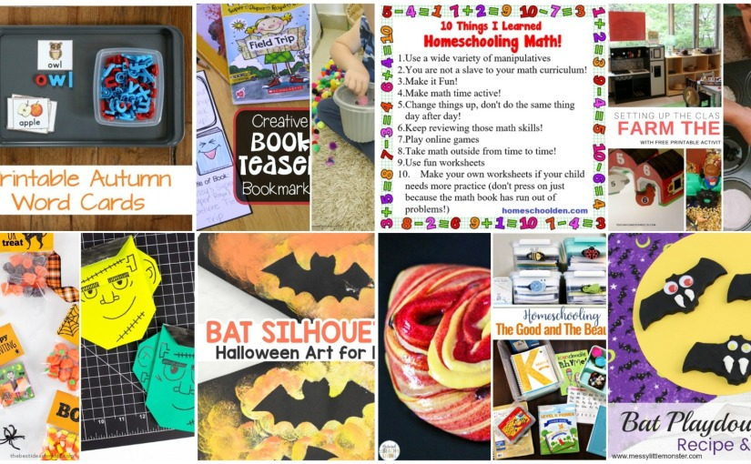 Bat Silhouette Art, Fall Word Cards, Muffin Tin Sensory Play, Caramel Apple Slime and Black Playdough