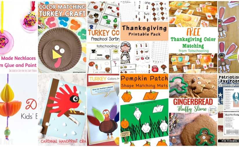 Necklace, Turkey Sentence and Colors Activities, Thanksgiving Activities, Patriotic Poems, GingerbreadSlime