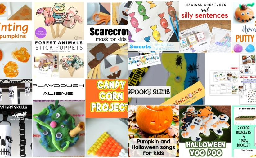 Forest Animal Puppets, Paper Lantern Skulls, Play Dough Aliens, Roll Sentence, Halloween Songs andSlime
