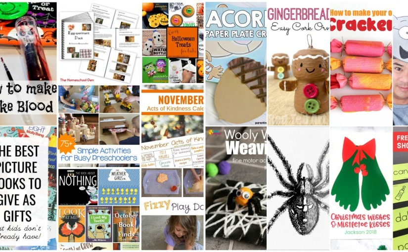 Acorn and Spider with Web Craft, Memory Games for Short a Word, Fake Blood, Fizzy Play Dough and BooksLists