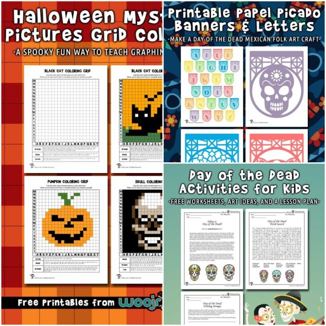 Halloween mystery pictures grid coloring, Day of the Dead activities for kids and Printable Papel Picado Banners.jpeg