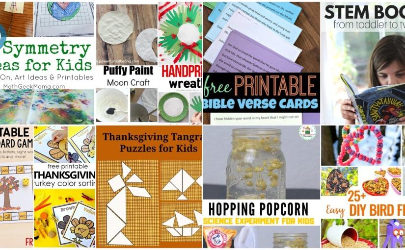 Handprint Wreath, Turkey Color Sorting, Thanksgiving Tangram, Bible Verses Cards, Dancing Popcorn and STEMBooks
