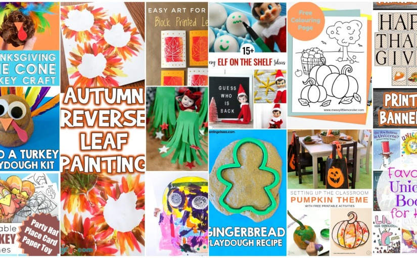 Leaf and Turkey Crafts, Autumn Colouring Page, Thanksgiving Printable Banner and GingerbreadPlaydough