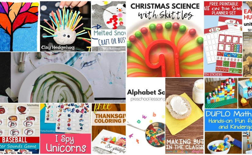 Clay Hedgehog, Fall Tree, Melted Snowman Busy Bag, Unicorn I Spy Game, Thanksgiving Coloring Pages and Early Humans Theme