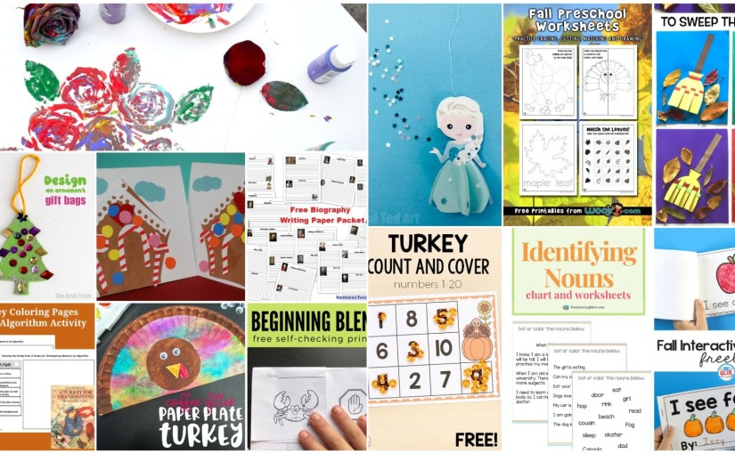 11.06 Crafts and Printables: Roses Art, Turkey, Gingerbread House, Thanksgiving Mats, FallWorksheets