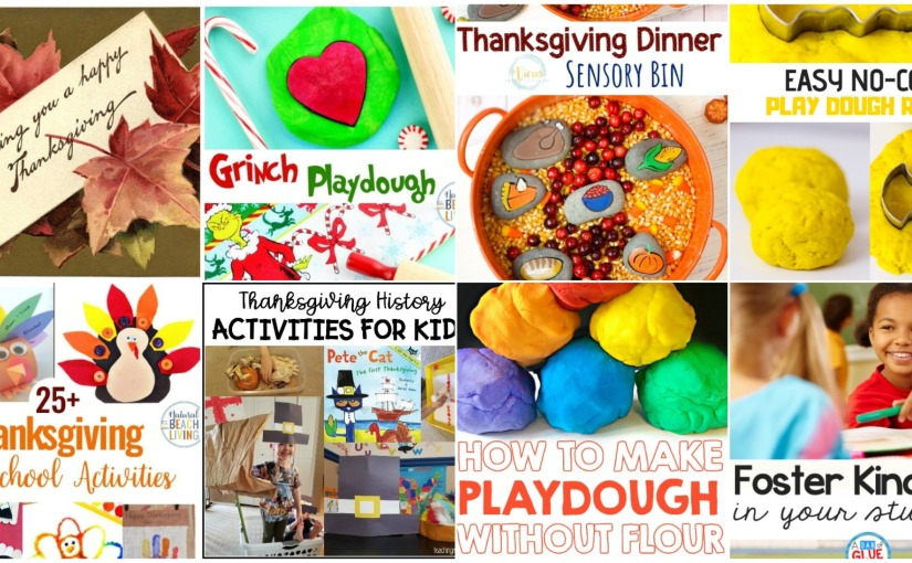 11.06 Thanksgiving Activity Ideas, Sensory Bin, No-Cook and Grinch PlaydoughRecipes