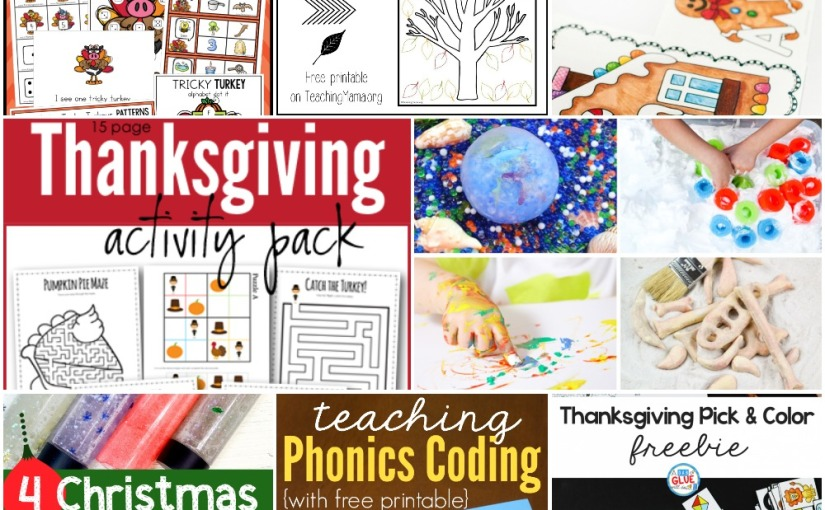 11.08 Printables and Sensory: Thankful Tree, Alphabet Activities, Thanksgiving Activity Packs and Sensory Play