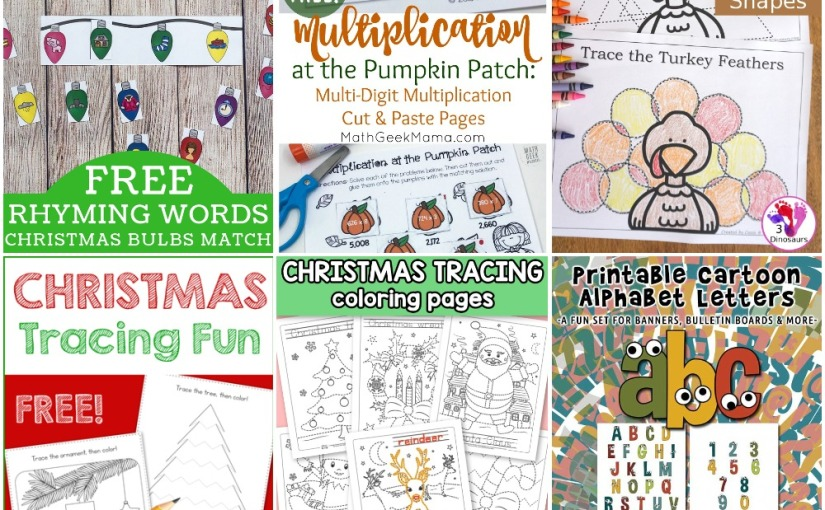 11.19 Printables: Christmas Tracings, Cartoon Letters, Turkey Shape Tracing, Christmas Rhyming Words