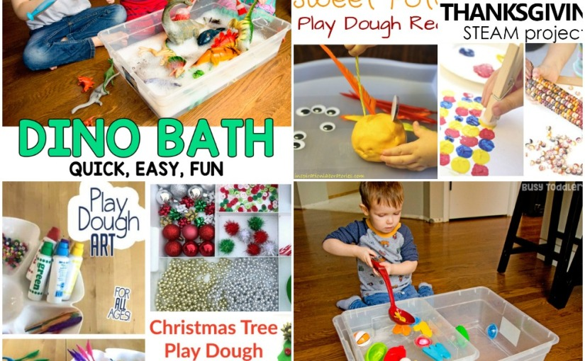 11.19 Sensory: Indian Corn, Water Scoop, Dinosaur Bath, Play Dough Art, Christmas Tree and Sweet Potato Play Dough