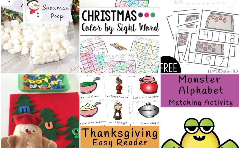 11.20 Printables: Christmas Color by Sight Word, CVC Words, Gingerbread Clip Cards, Easy Reader