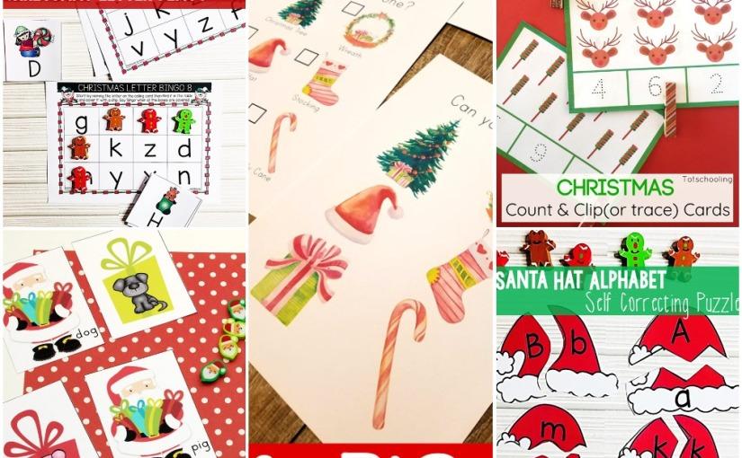 11.25 Totschooling Christmas Printables: Scavenger Hunt, CVC Word, Count & Clip Cards, Alphabet Puzzles andBingo