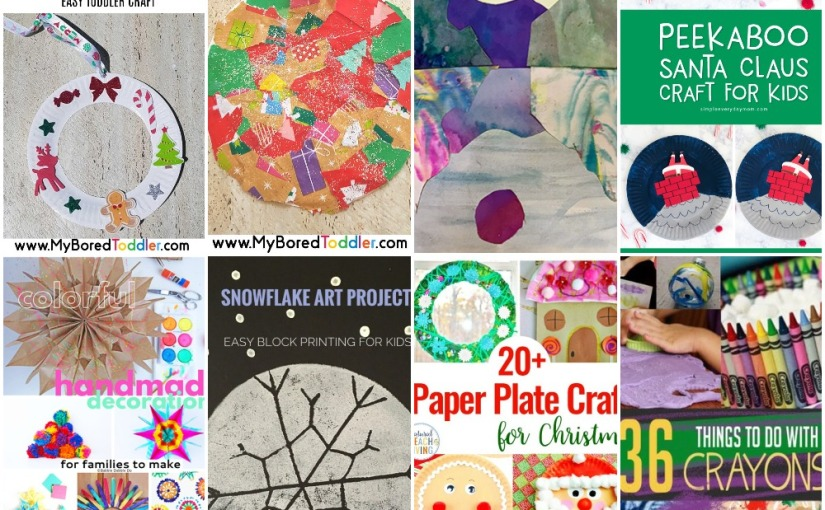 11.27 Crafts: Peekaboo Santa, Christmas Ornament, Wreath, Snowflake, Marble Landscape and Paper Plate forChristmas
