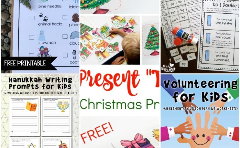 11.29 Printables: Winter Scavenger Hunt, Christmas Tree Letter Train, Hanukkah Writing Prompts, VolunteeringLesson