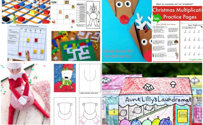 12.01 Origami Reindeer, Polar Bear Drawing, Village Shop Coloring, Christmas Multiplication and ElfSlime
