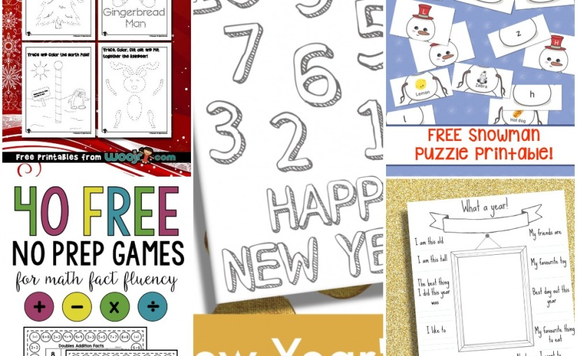 12.04 Printable: New Year Coloring Review Questions, Snowman Puzzle, Christmas Cutting and Math Games