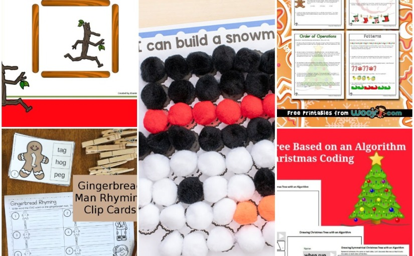 12.06 Printables: Pom Poms Winter, Gingerbread CVC Cards, Math Christmas Worksheets, BuildingShapes