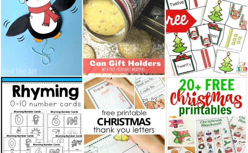 12.10 Printables: Penguin Puppet, Gift Holders, Christmas Notes, Christmas Number Puzzle, Cards andMore