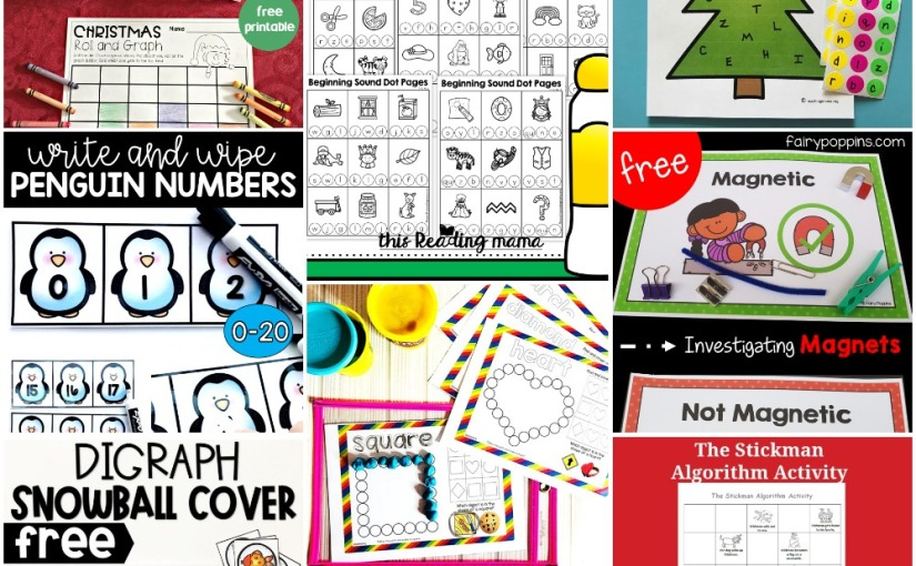 12.12 Printables: Christmas Roll Math, Penguin Numbers, Shapes, Digraph Snowballs,Fun Magnet Activities