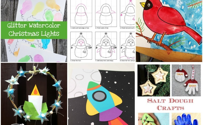 12.13 Crafts: Christmas Wreath, Christmas Lights, Cardinal and Penguin Drawing, PaperRocket