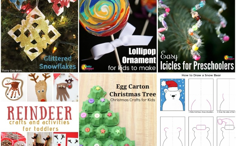12.15 Crafts: Snowflake, Lollipop and Icicles Ornaments, Egg Carton Christmas Tree, Polar Bear,Reindeers