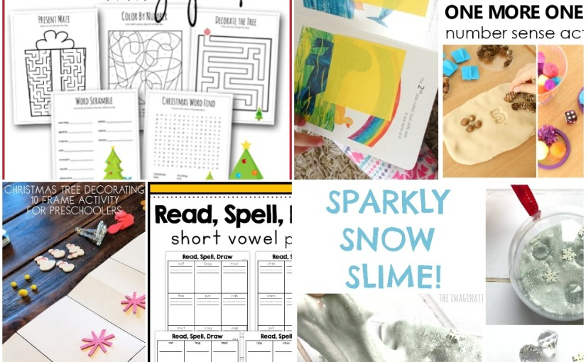 12.16 Christmas Activity Pack, Short Vowel Phonics, One More One Less Number, Sparkly SnowSlime