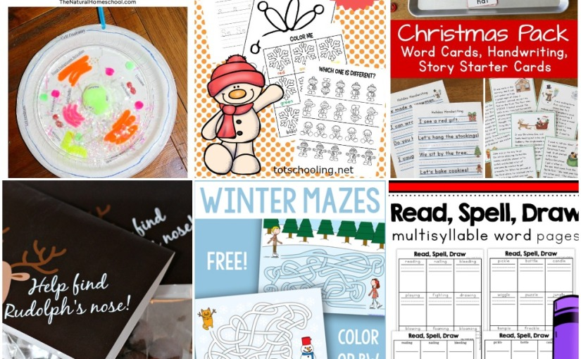 12.18 Printables: Winter Mazes, Winter and Christmas Activity Packs, Word Phonics Pages, Animal CellStem