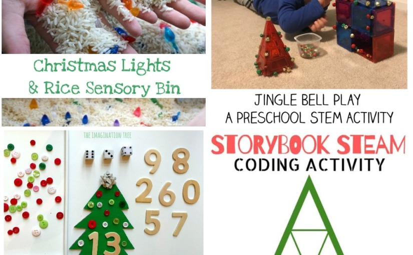 12.18 Storybook STEAM, Christmas Tree Addition Game, Jingle Bell Play STEM, Christmas Lights and Rice SensoryBin