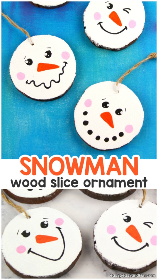 Wood-Slice-Snowman-Ornament-Craft-for-Kids