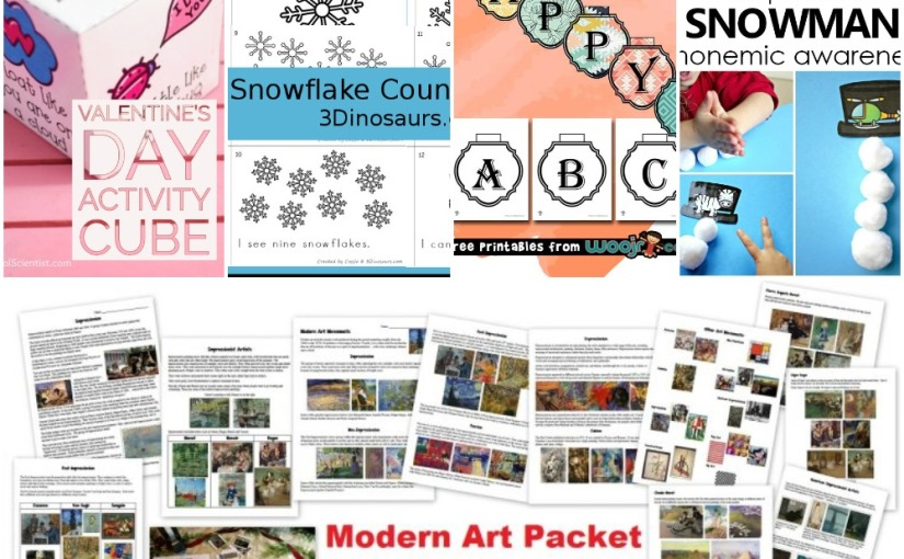 01.02 Printables: Valentine's Cube, Counting Snowflake, Snowman Phonemic, Banners Letters, Modern ArtPacket