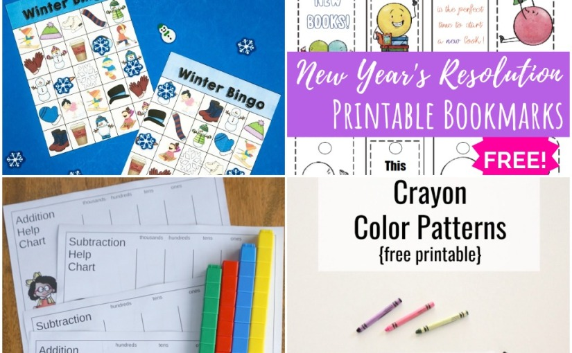 01.03 Free Printables: Winter Bingo, Bookmarks with Reading Resolution, Crayon Color Patterns, HelpCharts