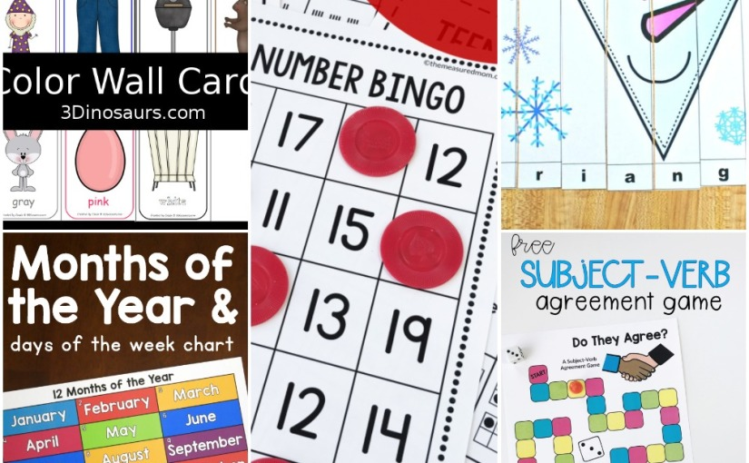 01.05 Printables: Color Wall Cards, Snowman Shapes, Months of the Year, Teen Number Bingo, Subject-VerbGame