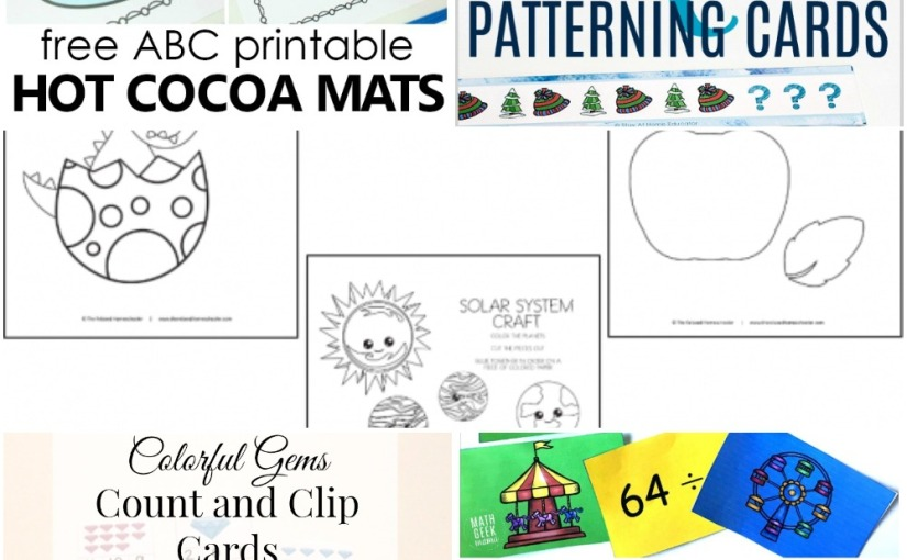01.07 Printables: Hot Cocoa Alphabet, Printable Crafts, Gems Counting Cards, Winter Math Cards, Digit Division Game