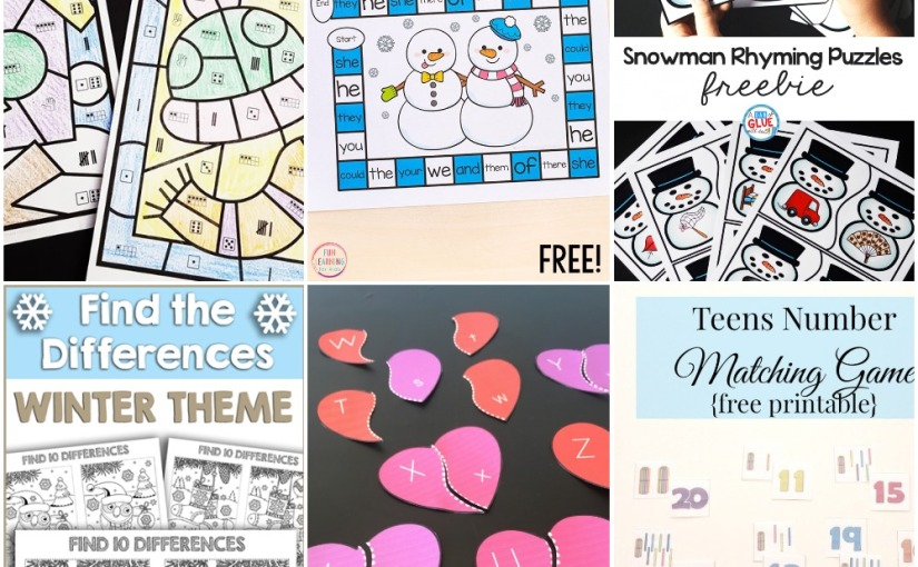 01.09 Printables: Winter Color by Number and Find the Differences, Valentine Heart Alphabet, Snowman Rhyming andGame
