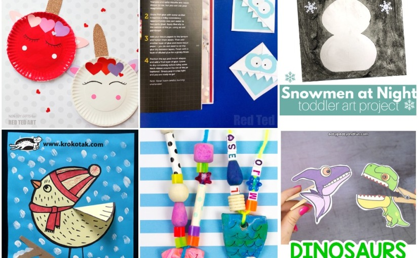 01.10 Crafts: Valentine Unicorns, Yeti Bookmark, Mermaid Necklace, Snowman Art, Winter Bird, DinosaursPuppets