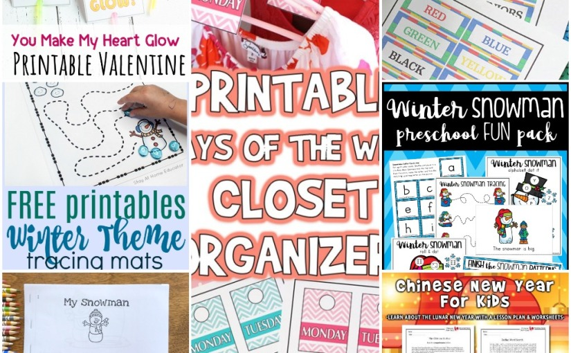 01.10 Printables: Lego Labels, Valentine Stick, Days of the Week, Winter Pack, Snowman Easy Reader, Chinese NewYear