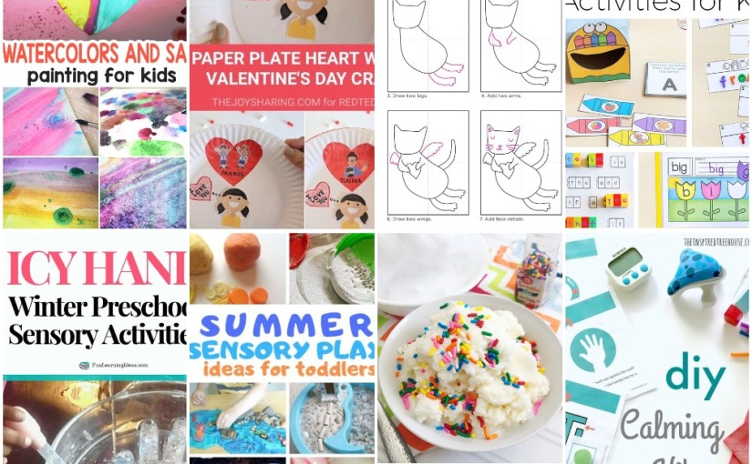 01.11 Watercolors and Salt, Paper Plate Heart, Valentine Kitty, Snow Ice Cream, Icy Hand, Summer Sensory Play