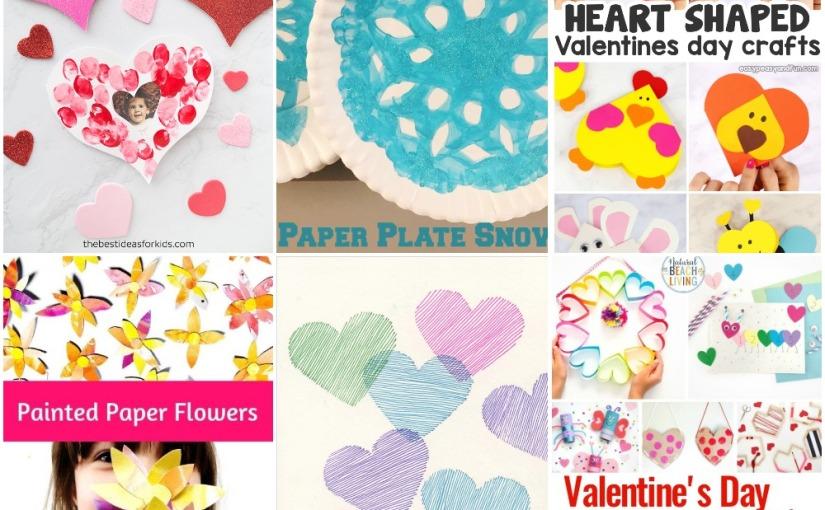 01.13 Crafts: Fingerprint Heart, Paper Plate Snowflake, Paper Flowers, Heart Animals, ValentineCrafts