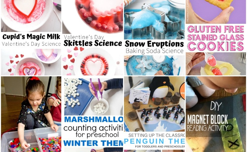 01.21 Valentine Science, Glass Cookies, Winter Experiment, Penguin Theme Marshmallow Snowballs, Pom Pom Soup