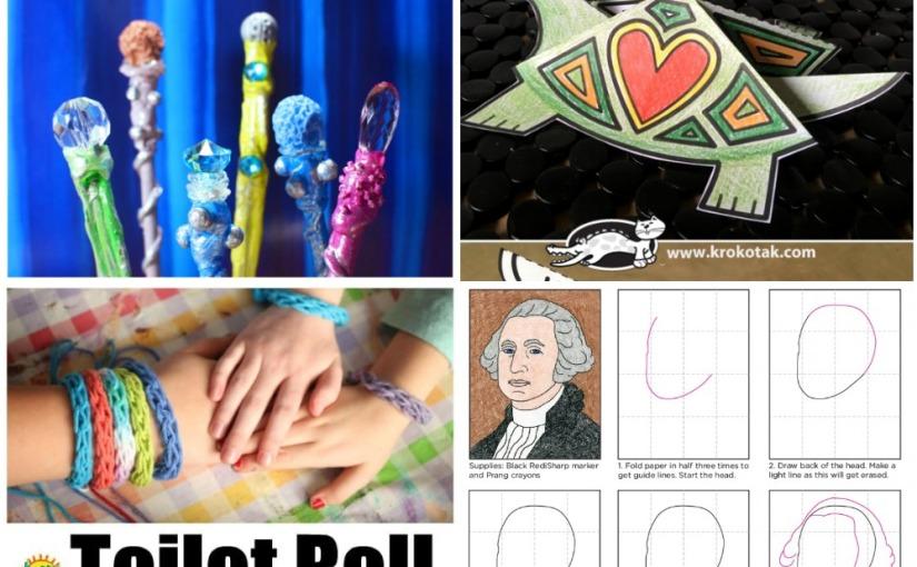 01.22 Crafts: Magic Wand, Paper Turtle, French Knitting for Kids, George WashingtonDrawing