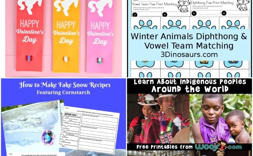 01.22 Printables: Valentine Unicorn, Winter Animals Vowel, Fake Snow Algorithm Recipe, IndigenousPeoples