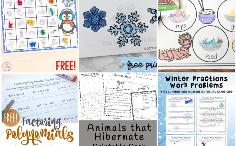 01.23 Printables: Penguin Alphabet, Life Cycle of Snowflakes, Animals Hibernate, Winter Fractions, Factoring Polynomials