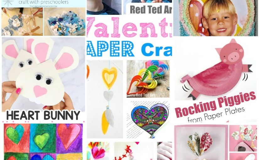 01.24 Crafts: Wooden Snowflake, Paper Plate Pig, Heart Bunny, Bead Mosaic Frame, Valentine ArtProjects