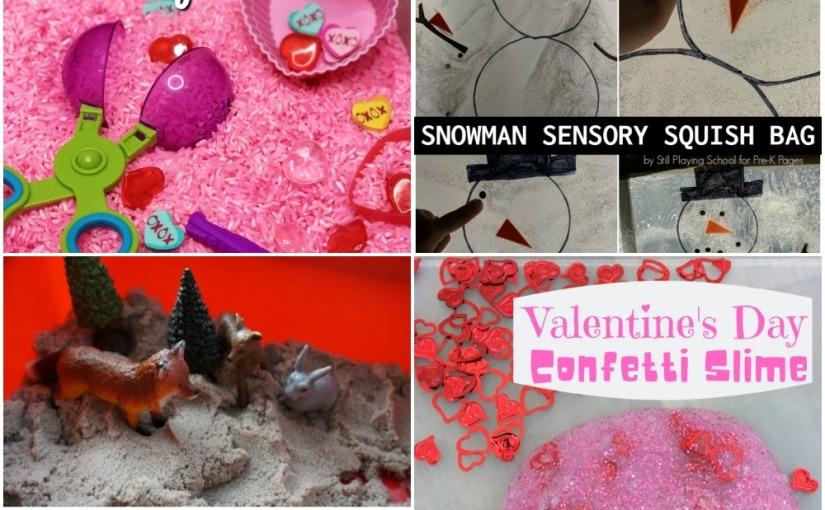 01.24 Sensory Bins: Animals in Winter, Snowman Squish Bag, Valentine's Day, ConfettiSlime