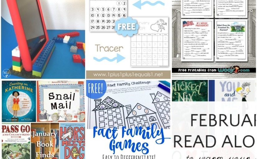 01.28 Lego Tablet Stand, Simple Fact Family Game, February Calendar, Presidents Day Mad Libs, BookLists