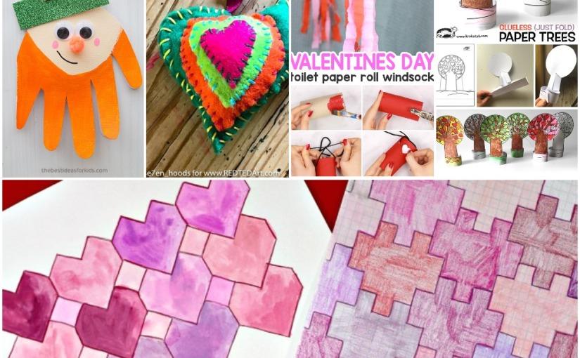 01.29 Crafts: Felt Heart, Leprechaun Handprint, Valentine's Windsock, Heart Trees, HeartTessellations