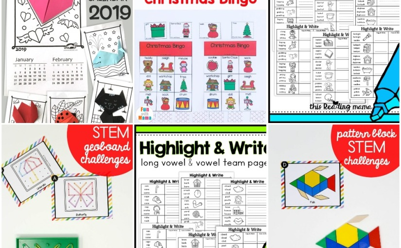 12.20 Printables: Origami Calendar 2019, Tangram, Geoboard, Bingo Christmas, Long Vowel and Multisyllable Words