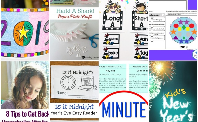 12.27 Paper Plate Shark, New Year's Crown, 1 Minute Games, Long and Short Vowel, New Year's Stem and EasyReaders