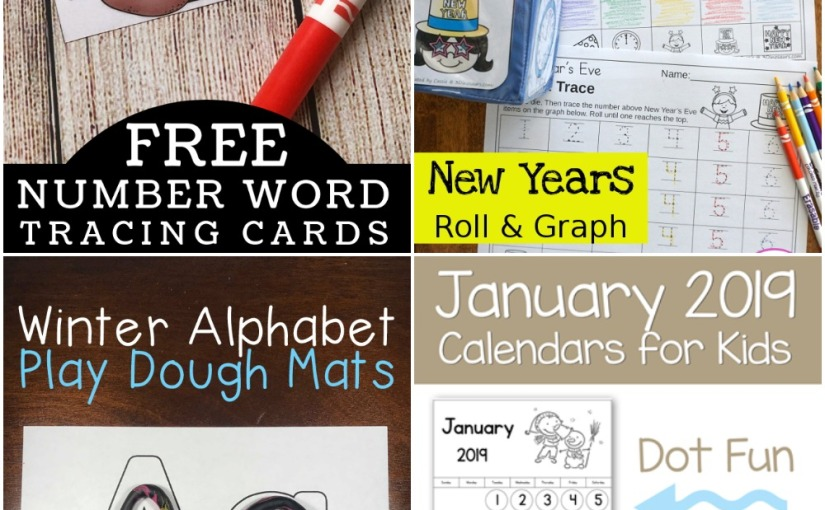 12.28 Printables: New Year's Roll&Graph, Number Word Tracing, Winter Alphabet and JanuaryCalendar